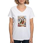 CATS AT THE BEACH Women's V-Neck T-Shirt