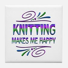 Knitting Makes Me Happy Tile Coaster