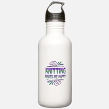 Knitting Makes Me Happ Water Bottle