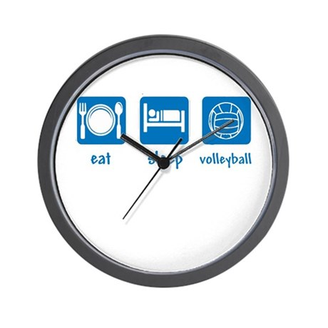 eat sleep volleyball (2) Wall Clock
