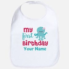 1st Birthday Octopus Personalized Bib