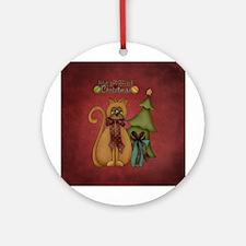 CHRISTMAS CRAZY QUILT Round Ornament