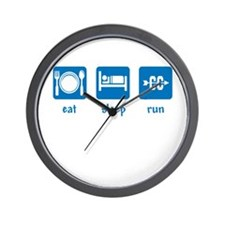 eat sleep run (CC) Wall Clock