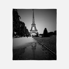 Cute Eiffel tower black white Throw Blanket