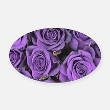 Purple Roses Oval Car Magnet