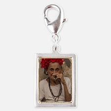 Old lady smoking cuban cigar Silver Portrait Charm