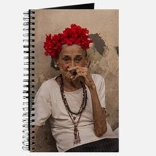 Old lady smoking cuban cigar in Havana Journal