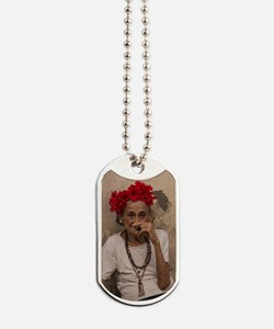 Old lady smoking cuban cigar in Havana Dog Tags