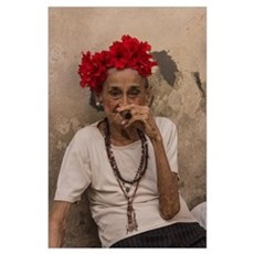 Old lady smoking cuban cigar in Havana Poster