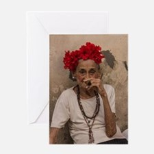 Old lady smoking cuban cigar in Hava Greeting Card