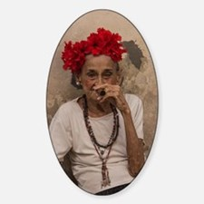 Old lady smoking cuban cigar in Hav Decal
