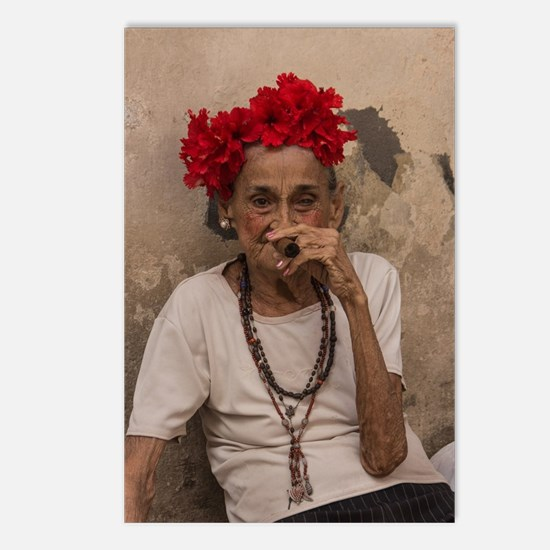 Old lady smoking cuban ci Postcards (Package of 8)