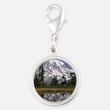 Mount Rainier Silver Round Charm