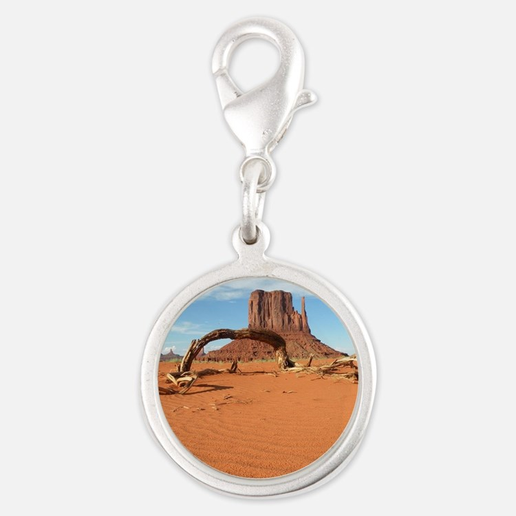 Monument Valley Silver Round Charm