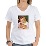 GIRL HOLDING CAT Women's V-Neck T-Shirt