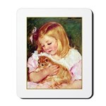 GIRL HOLDING CAT Mousepad