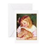 GIRL HOLDING CAT Greeting Card