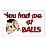 You Had Me at Balls Rectangle Sticker