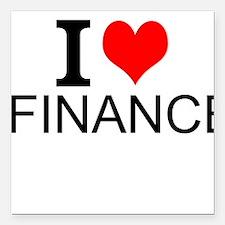 "I Love Finance Square Car Magnet 3"" x 3"""