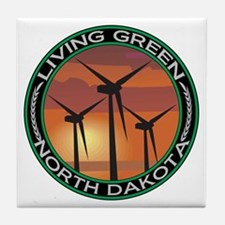 Living Green North Dakota Wind Power Tile Coaster