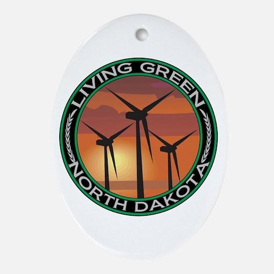 Living Green North Dakota Wind Power Ornament (Ova