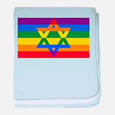 Rainbow Star of David baby blanket