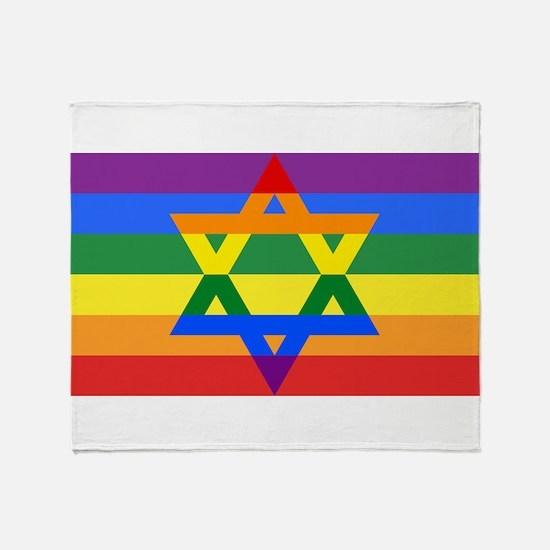 Rainbow Star of David Throw Blanket