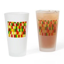 Colorful gummi bear candy pattern Drinking Glass