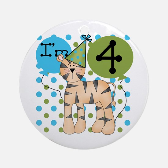 Tiger 4th Birthday Ornament (Round)