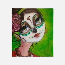 Cute Sugar skull roses Throw Blanket