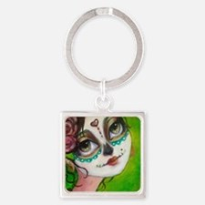 Funny Mexican skull Square Keychain