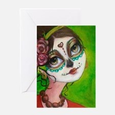 Cute Rose sugar skull Greeting Card