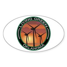 Living Green Oklahoma Wind Power Oval Decal