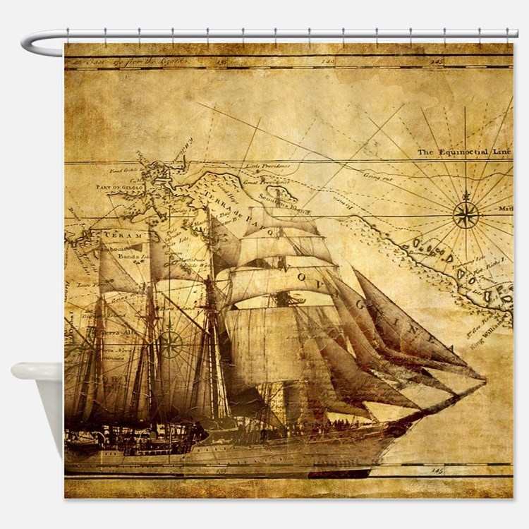 Sea Chart Shower Curtain
