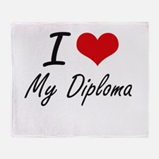 I Love My Diploma Throw Blanket