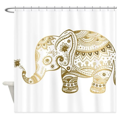 cute tribal elephant shower curtain