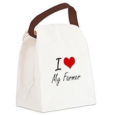 I Love My Farmer Canvas Lunch Bag