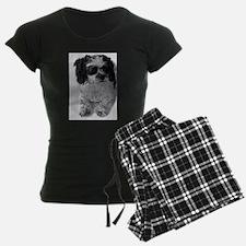 Black Gray White Shih Tzu Po Pajamas