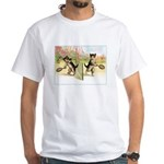 VINTAGE CAT ART White T-Shirt