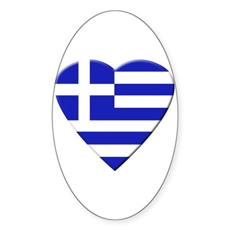 Greek Heart Oval Sticker
