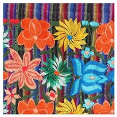 Mexican Flower Embroidery Poster