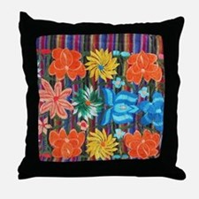 Mexican Flower Embroidery Throw Pillow
