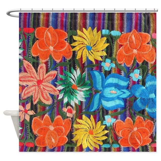 Mexican Flower Embroidery Shower Curtain By Listing-store