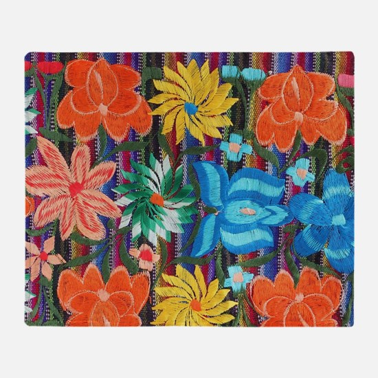 Mexican Flower Embroidery Throw Blanket