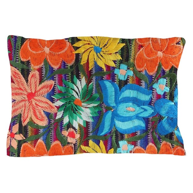 Mexican flower embroidery pillow case by admin cp