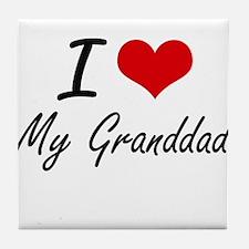 I Love My Granddad Tile Coaster