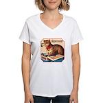 VINTAGE CAT ART Women's V-Neck T-Shirt