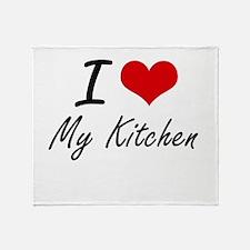 I Love My Kitchen Throw Blanket