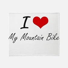 I Love My Mountain Bike Throw Blanket