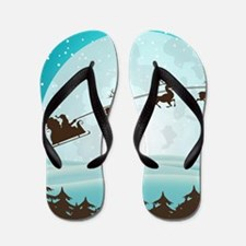 Christmas Night With Santa On His Sled Flip Flops